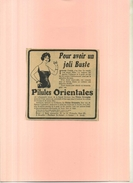 FRANCE 75 . PILULES ORIENTALES  . PUB  DES ANNEES 1920 . DECOUPEE ET COLLEE SUR PAPIER . - Publicités