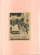 FRANCE 75 . GALERIES BARBES . PUB  DES ANNEES 1950 . DECOUPEE ET COLLEE SUR PAPIER .