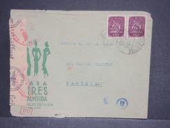 PORTUGAL - Env. Commerciale De Lisbonne Pour Paris En 1943 , Contrôle Postal Allemand , - L 6497 - 1910-... République