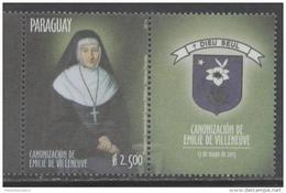 PARAGUAY, 2016, MNH,RELIGION, CHRISTIANITY, CANONIZATION OF EMILIE DE VILLENEUVE,1v+TAB - Christianity