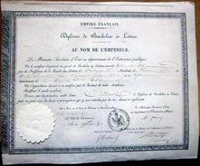 DIPLOME DE BACHELIER ES LETTRES SECOND EMPIRE  86 POITIERS  ANNEE 1855 CACHET EN PAPIER GAUFRE - Diploma & School Reports