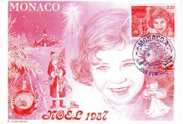 NOEL ... LE PERE NOEL.. JOIE DE L ENFANT OBLITERATION 1ER JOUR 13.11.1987 - Cartas Máxima