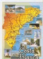 Postal 044124 : Costa Blanca (España). Plano Y Vistas Varias - Cartes Postales