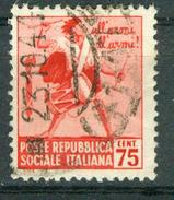 BM Italien 1944 - MiNr 658 X (Wz. 1) - Used - Zerstörte Denkmäler - 4. 1944-45 Sozialrepublik