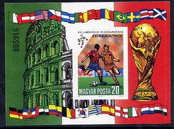 HUNGARY 1990 Football World Cup Imperforate Block MNH / **.  Michel Block 210B - Blocks & Sheetlets