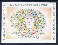 HUNGARY 1988 SOZPHILEX Exhibition Imperforate Block MNH / **.  Michel Block 196B - Blocks & Sheetlets