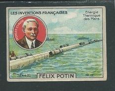 Georges Claude Chromo Félix Potin Inventions Françaises Energie Thermique 50 X 40 Mm TB Pub Au Dos - Félix Potin