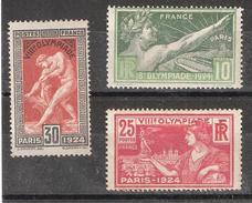 France, JO Jeux Olympiques 1924 Olympics, Yvert N° 183,184 & 185 , Neufs * / MH, TB, Cote 16 Euros