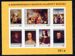 HUNGARY 1984 Stolen Paintings Imperforate Block MNH / **.  Michel Block 170B - Blocks & Sheetlets