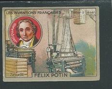 JACQUARD Chromo Félix Potin Inventions Françaises Métier à Tisser 50 X 40 Mm TB Pub Au Dos - Félix Potin