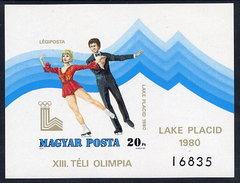 HUNGARY 1979 Winter Olympics Imperforate Block MNH / **.  Michel Block 140B - Blocks & Sheetlets