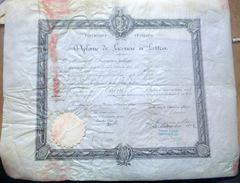 DIPLOME DE LICENCIE ES LETTRES ACADEMIE DE PARIS 1902  CACHET EN PAPIER GAUFRE AVOCAT - Diploma & School Reports