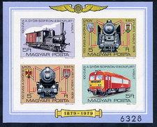 HUNGARY 1979 Railway Line Centenary Imperforate Block MNH / **.  Michel Block 139B - Blocks & Sheetlets