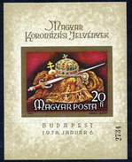 HUNGARY 1978 Coronation Regalia Imperforate Block MNH / **.  Michel Block 135B - Blocks & Sheetlets