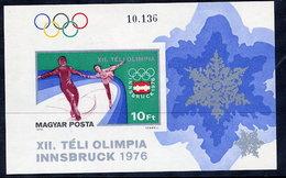 HUNGARY 1976 Winter Olympics Imperforate Block MNH / **.  Michel Block 116B - Blocks & Sheetlets