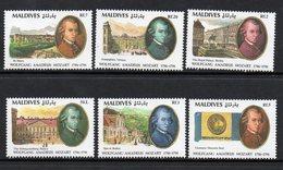 1991 Maldives Mozart Complete  Set Of 6   MNH - Maldive (1965-...)