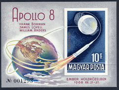 HUNGARY 1969 Apollo 8 Imperforate Block MNH / **.  Michel Block 68B - Blocks & Sheetlets