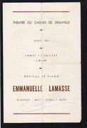 """Programme 1966 """"Théatre Du Casino De Deauville"""" Autographe D'Emmanuelle Lamasse Récital De Piano - Programmes"""