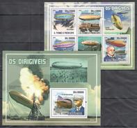 S208 2009 S S.TOME E PRINCIPE OS DIRIGIVEIS FAMOUS PEOPLE VON ZEPPELIN 1BL+1KB MNH - Zeppelins