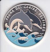 MONEDA DE PLATA DE CUBA DE 10 PESOS DEL AÑO 1994 DE UNOS DELFINES (DELFIN-DOLPHIN) (COIN) SIN CIRCULAR-UNCIRCULATED - Cuba