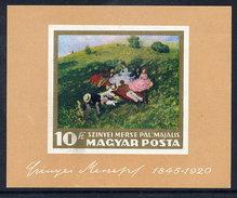 HUNGARY 1966 NAtional Gallery Painting Imperforate Block MNH / **.  Michel Block 56B - Blocks & Sheetlets