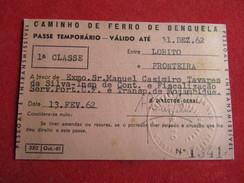 Angola - Caminho De Ferro De Benguela - Passe Anual 1ª Classe Entre Lobito E Fronteira 1962 - Chemins De Fer