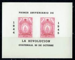1945  1er Ann De La Révolution  Bloc Feuillet De Poste Aérienne - Guatemala