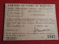 Angola - Caminho De Ferro De Benguela - Passe Anual 1ª Classe Entre Lobito E Fronteira 1973 - Chemins De Fer