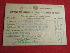 Mozambique - Moçambique - Dir. Dos Ser. De P. E Caminhos De Ferro - Passe Permanente Em Serviço Interno 1ª Classe 1952 - Chemins De Fer