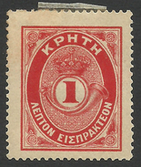 Crete, 1 L. 1901, Scott # J1, Mi # 1, MH. - Crete