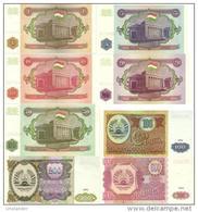 TAJIKISTAN Set 1, 5, 10, 20, 50, 100, 200, 500  Rubles P- 1 - 8  1994 *UNC* - Tadjikistan