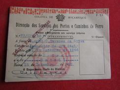 Mozambique - Moçambique - Dir. Dos Ser. De P. E Caminhos De Ferro - Passe Permanente Em Serviço Interno 1ª Classe 1956 - Chemins De Fer