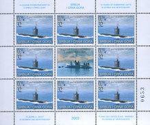 Yugoslavia 2003, 75 Years Of Yugoslav Submarine Units Sheet Of 9, MNH (**) Michel 3168 (M/S Mini Sheet) - Blocchi & Foglietti