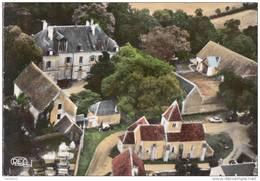 X1795 LA VALLEE NOIRE NOHANT LE CHATEAU DE GEORGES SAND ET SES DEPENDANCES L'EGLISE VUE AERIENNE  2 SCANS - France