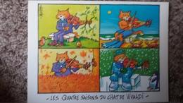 CPM CHAT LES QUATRE SAISONS DU CHAT DE VIVALDI ILLUSTRATEUR DOMINIQUE MUTIO ED CARTES D ART - Gatti