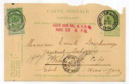 Belgique-1904-Entier CP Avec Complt 5c De BRUXELLES Pour NEW-YORK (Etats-Unis)--Beaux Cachets-griffe Rouge N-Y - 1893-1907 Coat Of Arms