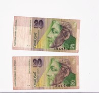 2 BANCONOTE SLOVACCHIA 20 KORONE - 1993 - Slovacchia