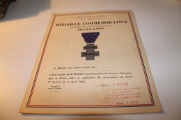 Certificat Du Port De La Médaille De Service Volontaire Dans La France Libre - Documentos