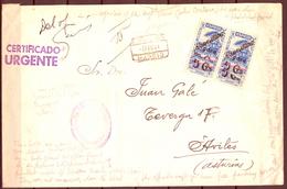 1941 , MADRID - AVILÉS , CERTIFICADO URGENTE , MARCA. ADMON. PRAL. DE CORREOS , VER DESCRIPCION - 1931-Hoy: 2ª República - ... Juan Carlos I