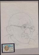O)1969 URUGUAY,ORIGINAL ART WORK DESIGNES,MAHATMA GANDHI, TWO CERTIFICATES OF AUTHENTICITY - SCOTT AP73, UNESCO, POLIT - Uruguay