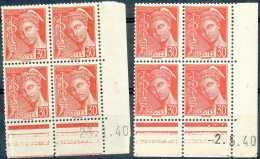 France N° 412-cu, 30c Rouge, Mercure, BD4 Cdf Datés De 1940, En 2 Nuances Dont Curiosité: Impression Dépouillée