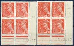 France N° 412-cu, 30c Rouge, Mercure, BD4 Cdf Datés De 1942, En 2 Nuances Avec Curiosité: Point Dans La Marge Supérieure
