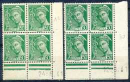France N° 414-cu, 50c Vert, Mercure, Adhérences, BD4 Cdf Datés De 1941, En 2 Nuances Avec Curiosité: Taches Vertes Dans