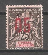 St Pierre & Miquelon 1912,Surcharged,Sc 114,VF Mint Hinged*OG (P-5) - Ungebraucht