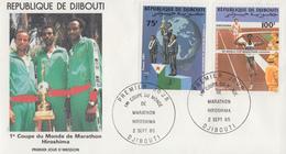 Enveloppe  FDC  1er  Jour   DJIBOUTI    1ére   Coupe  Du   Monde  De  Marathon  à  Hiroshima   1985 - Djibouti (1977-...)
