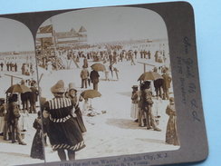 "By The Sad SEA WAVES - ATLANTIC CITY N.J. U.S.A. "" Stereo Photo "" 1901 !! - Photos Stéréoscopiques"