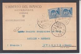 Vctor-Emmanuel III 25c Bleu X 2 Sur CP  Commerciale De PIETRASANTA Le 28 10 1922 Pour AULNOYE Nord - 1900-44 Victor Emmanuel III