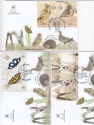Oman 2016, Souvenir Sheets X 6 Compl.set On 6 FDC Compl.Butterfly,Birds,Animals ,... Scarce Limt.issue - SKRILL PAYM - Oman
