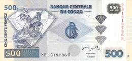 CONGO DEMOCRATIQUE REPUBLIQUE   500 Francs   4/1/2002 (2004)   P. 96a   UNC - Congo