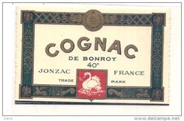 étiquette - 1940 /1980-  COGNAC BONROY à JONZAC  - Animaux Cygne - Whisky